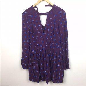 Free People Tegan Purple Floral Mini Dress